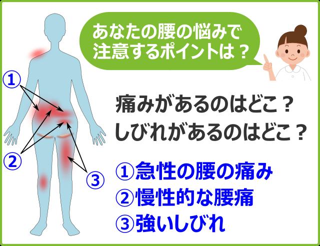 あなたの腰の悩みで注意するポイントはどこ?