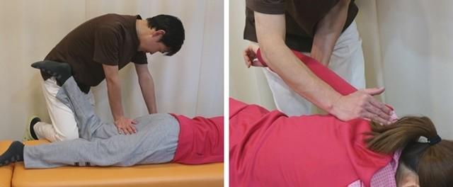 施術の写真(肩甲骨や股関節を調整)