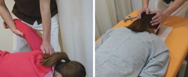 施術の写真(肩と首のまわりを調整)
