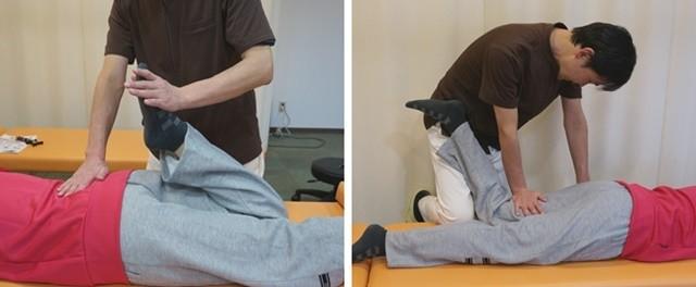 施術の写真(膝とふくらはぎ)
